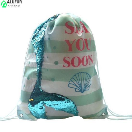 Mermaid Sequin Drawstring Cinch Bag for Girls