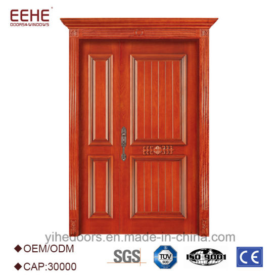 China Mat Finished Solid Wooden Door Exterior Wooden Doors with Wood ...