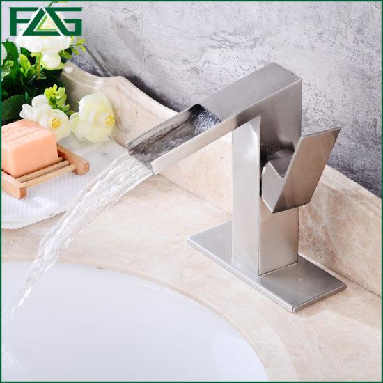 Flg Brushed Nickle Bathroom/Sanitary Ware Waterfall Tap/Faucet