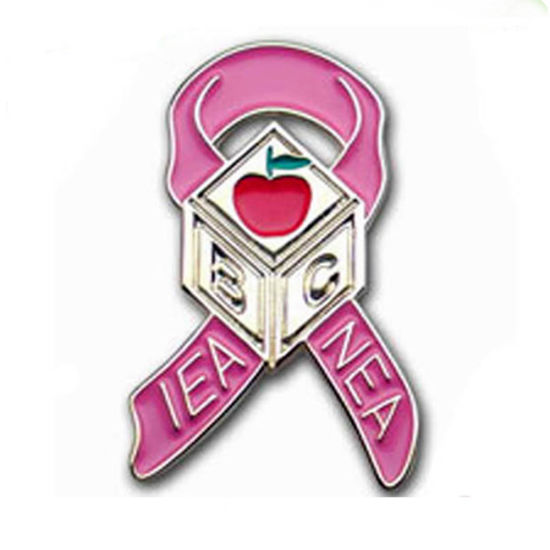 Custom Metal Enamel Cancer Pink Ribbon Lapel Pin pictures & photos