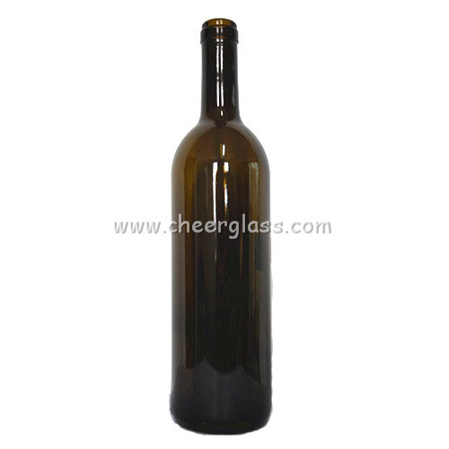 Wholesales High Capacity 750ml Green Glass Printed Customized Bordeaux Bottle with Cork Finish