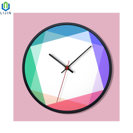 UV Printing Geometric Aesthetic Creative Metal Frame Wall Clock pictures & photos