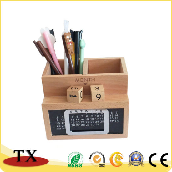 Promotional Office Supply Stationery Multifunctional Wooden Calendar Pen Holder pictures & photos