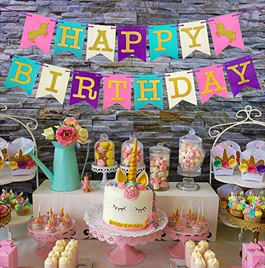 China Umiss Paper Unicornl Balloons Happy Birthday Banner Unicorn