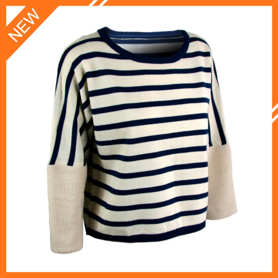 bddebb73c3 Black and White Striped Crewneck Long Sleeve Women′s Cashmere Like Pullover  Sweater