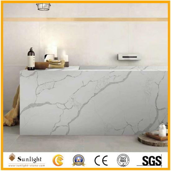 High Quality Polished White Quartzite Artificial Calacatta Quartz Stone Worktops Bar Tops Table Tops Kitchen Countertops