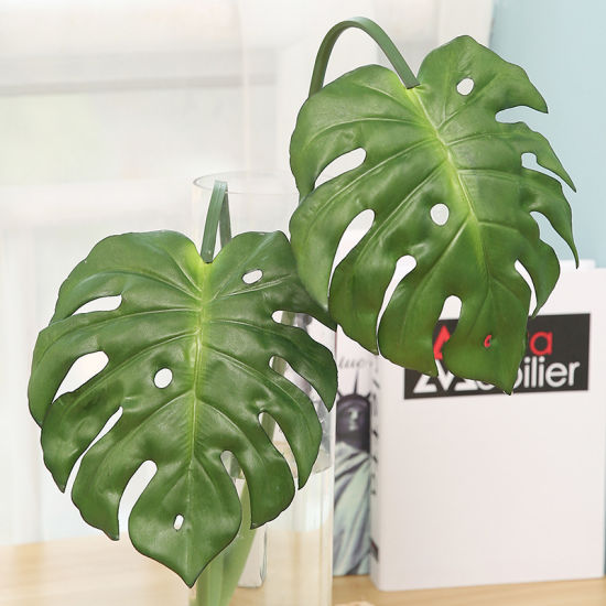 Real Touch Artificial Plants Monstera Tropical Plant Green Leaves Home Decoration Wedding Party Office Store Decorations