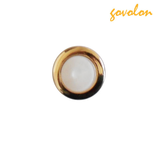 Pearl Cap Button with Golden Metal Edge