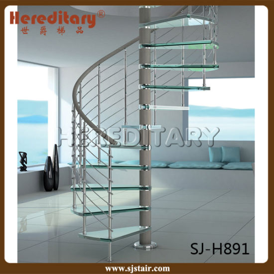 Interior Stainless Steel Glass Spiral Staircase (SJ 3002)