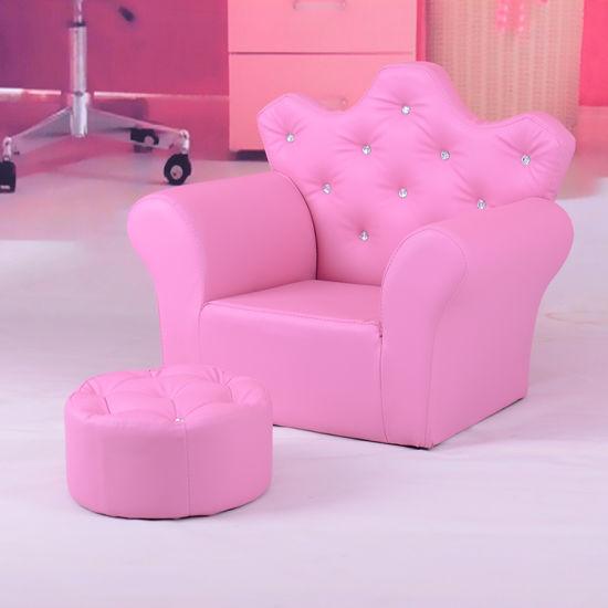 China Crown Buckle Kids Leather Ottoman Chair Sofa Children ...