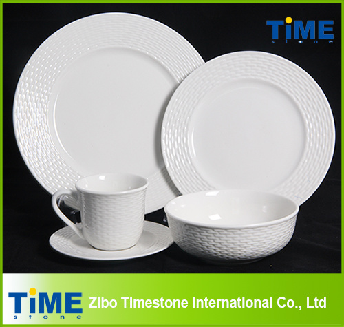 16PCS 20PCS White Embossed Hotel Restaurant Used Porcelain Ceramic Dinnerware Set (622013)  sc 1 st  Zibo Timestone International Co. Ltd. & China 16PCS 20PCS White Embossed Hotel Restaurant Used Porcelain ...