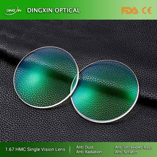 Good Price High Index Semi-Finished Mr-8 1.67 Single Vision Asp Hmc UV400 Lens