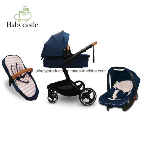 2018 Fashion Baby Stroller Luxury Leather Baby Stroller Hot Selling 3 in 1 or 2 in 1 Baby Pram Car