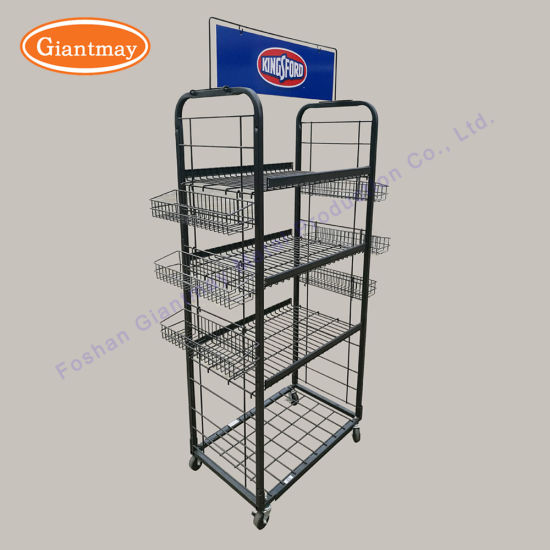 China Durable Metal Floor Standing Wire Hanging Basket Display Stand