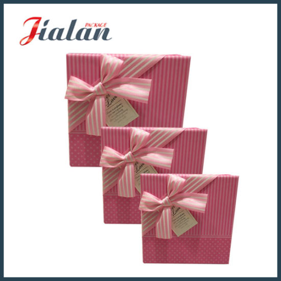 Wholesales Customize Logo Printed Ribbon Bow Cardboard Brown Paper Box pictures & photos