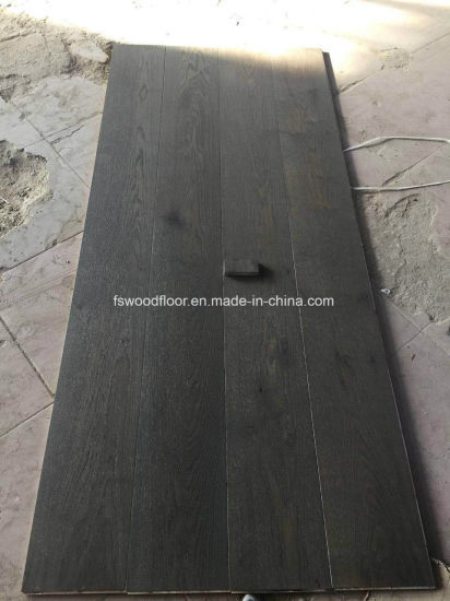 Dark Grey White Oak Engineered Large Plank Wood Flooring pictures & photos