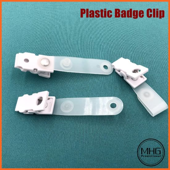 2.25'' Frosted Plastic Colored 1-Hole Badge Clip