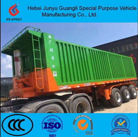 China Hebei Guangli 30-50ton Truck Tractor Used Hydraulic Dump Trailer, Dumper Semi Trailer, Tipper Trailer for Sale