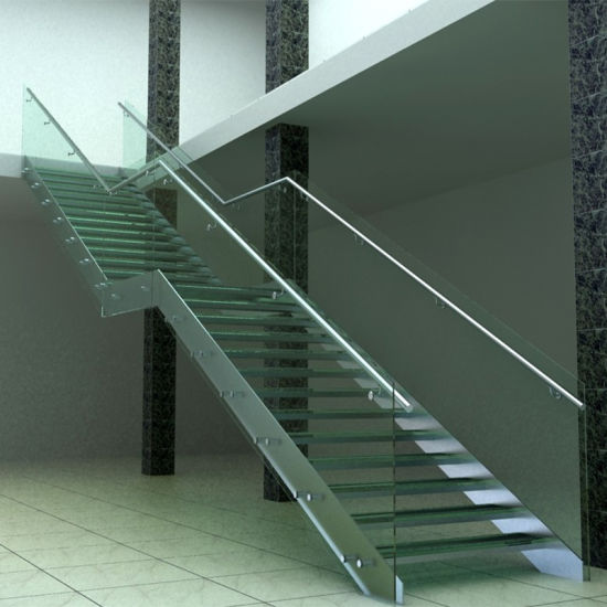 Attractive Commercial Staircase With Stainless Steel Stringer Tempered Glass Tread