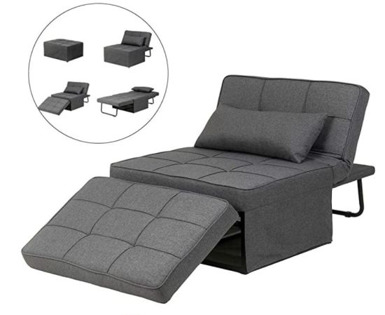 Wholesale Modern Folding Metal Sleeper Guest Bed, 4 in 1 Multi-Function Adjustable Sectional Living Room/Office/Bedroom Fabric/Leather Leisure Recliner Sofa