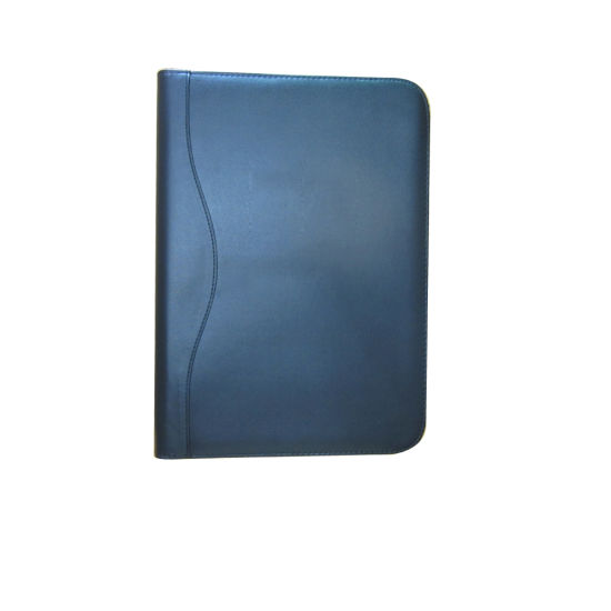 Black Zipper A4 Leather Ring Binder with Notepad pictures & photos