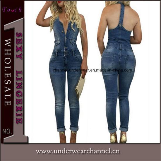 e92d03559f31 Sexy Skinny Blue Jeans Playsuit Denim Overalls Jumpsuit (TOSM4010)