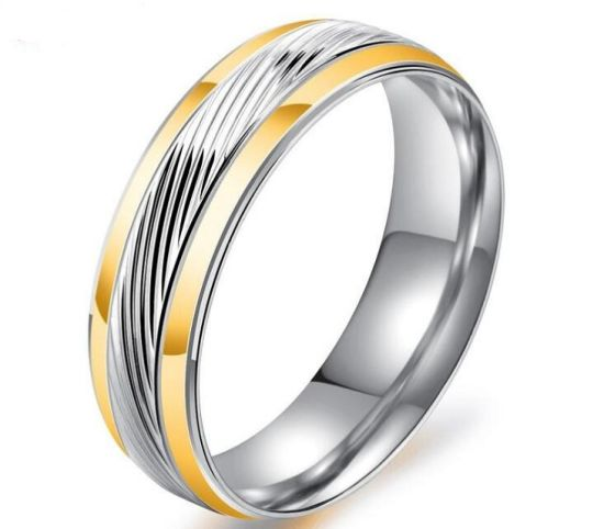 China Top Quality 6mm Wide Interval Gold Stainless Steel Ring For