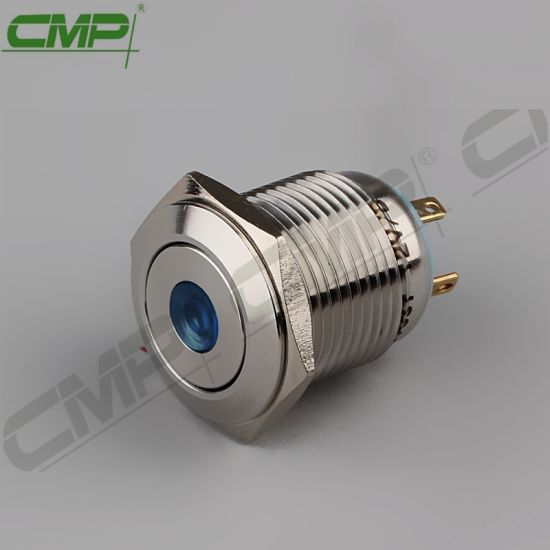 CMP 16mm Round DOT LED Push Button Switches IP67 4 Pin TUV Ce