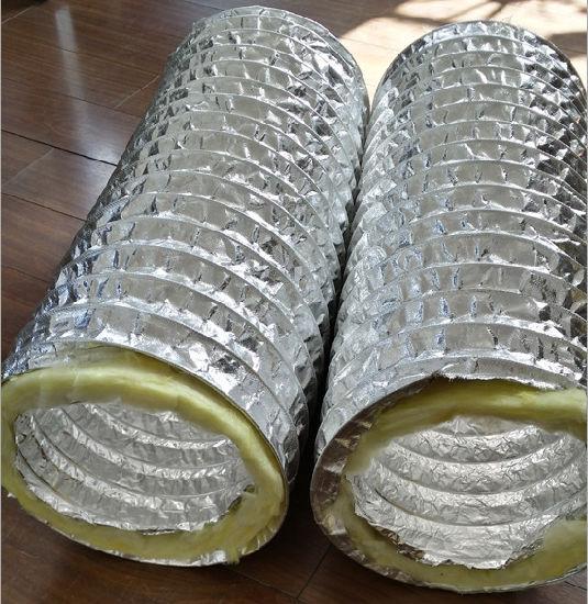 China Fiberglass Insulation Aluminum Flexible Duct for HVAC System
