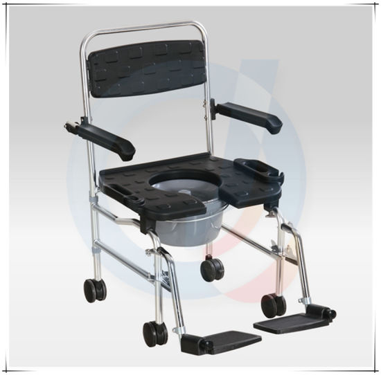 Steel Foldable Shower Commode Chair with Wheels pictures & photos