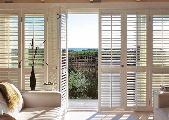 decorative pvc plantation bi fold window louvered shutters