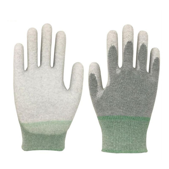 Most Competitive 13G ESD Carbon Liner with White PU Palm Coated Safety Work Gloves