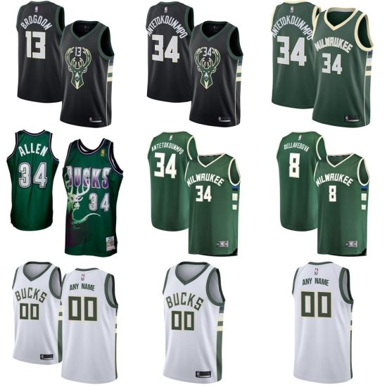 new style 5119e 7599c [Hot Item] Milwaukee Bucks Black White Swingman Custom - Statement Edition  Basketball Jerseys