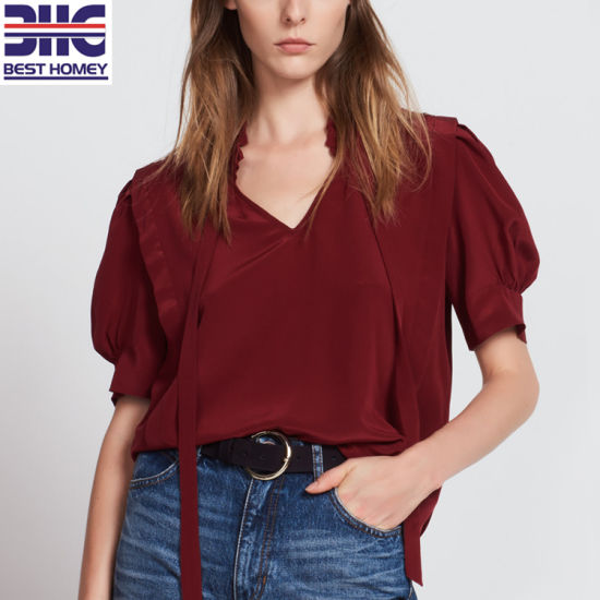598bf9b1b18255 Silk Tops Short Sleeve V Neck Ladies Fashion Design Blouses for Womens with  Tie Collar