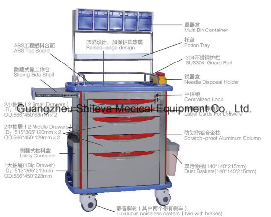 [Hot Item] Patient Nursing Transfer Emergency Drugs Anaesthetic Drug  Trolley Cart