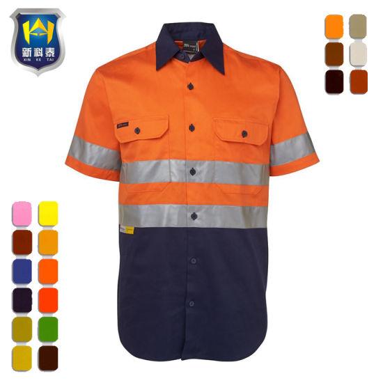 China Cotton Australian High Visibility Short Sleeve Work Shirt ... 29263540c67