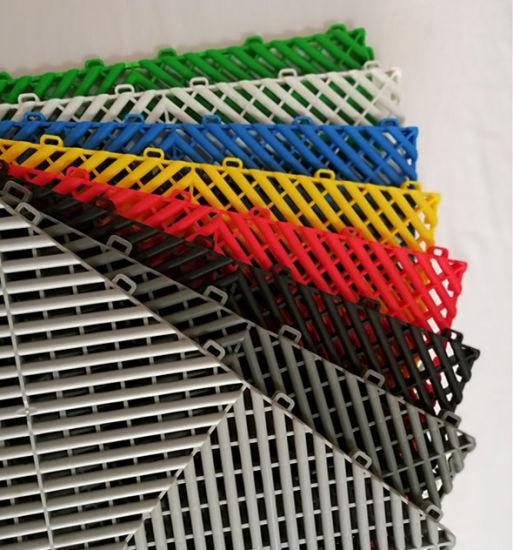 Garage Anti-Slip PVC Floor Mat, PP Rib Interlcok Garage Floor Tiles, PVC Floor Tile