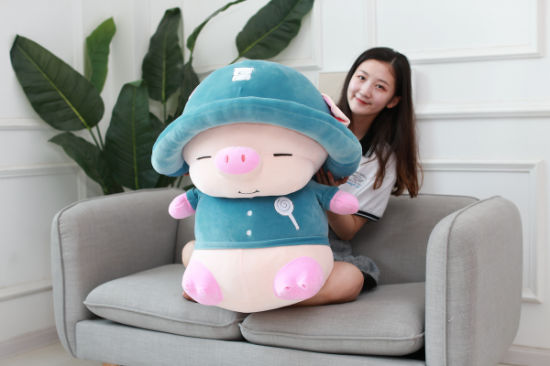 Plush Toys Hat Cap Childrens Pig Girlfriend Girl Fun Birthday Gift Blue