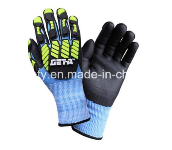 Blue Nylon and White Hppe Blended Anti-Impact Heavy Duty Cut Resistant Anti-Vibration Safety Glove