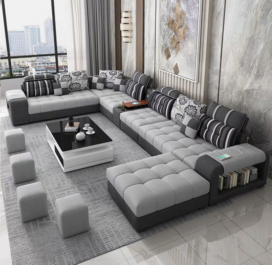 Home Furniture Living Room U Shape Vintage Bonded Leather Sectional Sofa