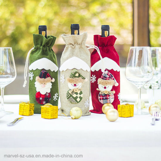 Santa Claus Snowman Wine Bottle Cover Home Party Christmas Decorations pictures & photos