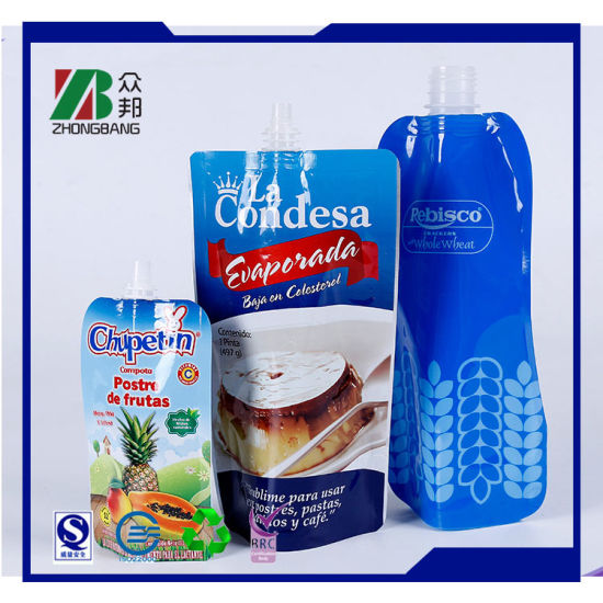 Custom Printing Plastic Stand up Pouch with Spout for Juice Packaging