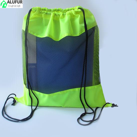 Center Time Mesh Panel Drawstring Backpack Drawstring Sport Pack