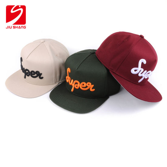 Custom 3D Embroidery Logo Flat 6 Panel Wool Snapback Cap pictures & photos
