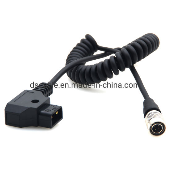 DRRI Hirose 4pin Male to D-tap Coiled Cable Power for Sound Device ZAXCOM 633//644//688