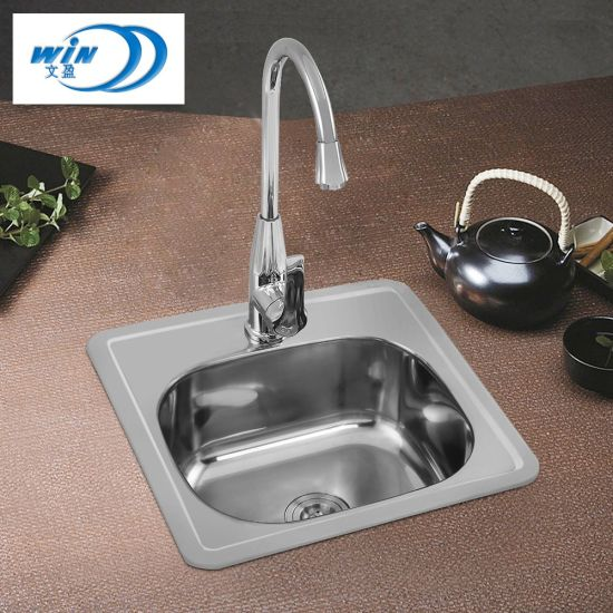 China Deluxe Kitchenware Small Single Basin Heavy Duty Stainless Steel Sink 380 380mm China Kitchen Basin Water Tank