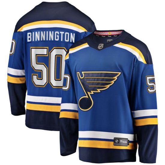 Binnington Jerseys Men Youth/Kids 50 Binnington Blue Hockey Jersey Fan Sport Shirt