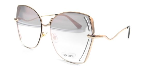 Trendy Oversized Sunglasses for Women, Gold Eyeglasses Front and Wilding Temple