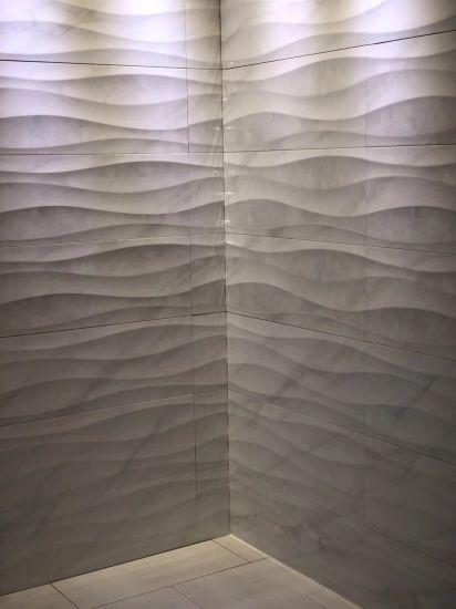 China Carrara Marble Look Wave Shape Foshan Produced