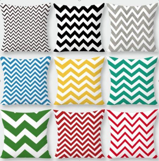Geometric Wave Stripe Peach Velvet Cushion